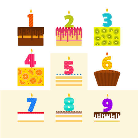 souffle: Vector illustrations set of birthday cakes with candles in the shape of numbers in flat style.