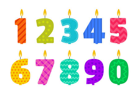 Vector flat design birthday candle set in the shape of all numbers. Иллюстрация