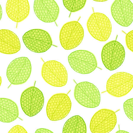 paper graphic: graphic seamless pattern from silhouette leaves  in a doodle style. Trace ink drawing of a tree leaf seamless texture in different shades of green. Wrapping paper, fabric