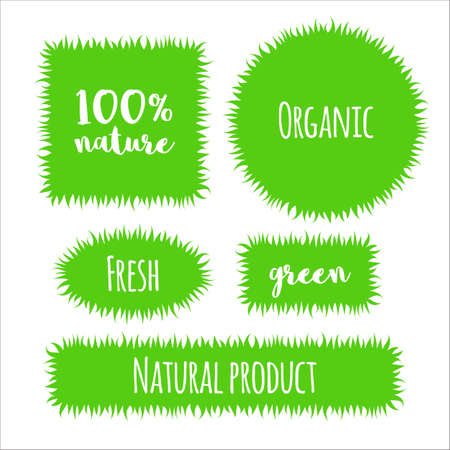 Flat Grass , Label, Bubble Template Set Isolated On White Background ...