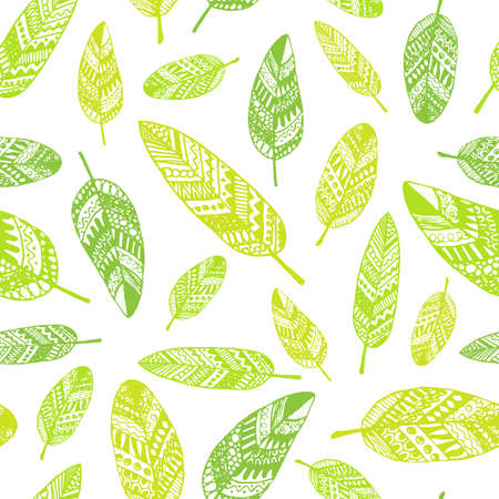 paper graphic: graphic seamless pattern from silhouette leaves hand-drawn in a doodle style. Trace ink drawing of a tree leaf seamless texture in different shades of green. Wrapping paper, fabric