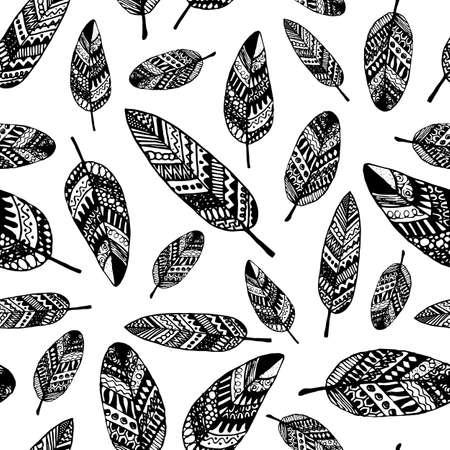 ink drawing: graphic seamless pattern from silhouette leaves hand-drawn in a doodle style. Trace ink drawing of a black tree leaf texture isolated on white. For wrapping paper, fabric, textile. Illustration