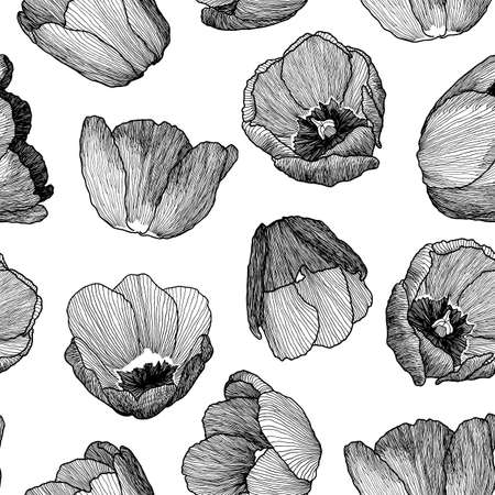 paper graphic: graphic hand-drawn ink seamless pattern of tulip flowers in a linear style. Vintage texture. Drawn on paper and traced buds of tulips from different angles. For textile, fabric, invitation. Illustration