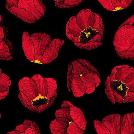Vector graphic hand-drawn ink seamless pattern of red tulip flowers in a linear style. Vintage texture. Drawn on paper and traced buds of tulips from different angles. For textile, fabric, invitation. Çizim