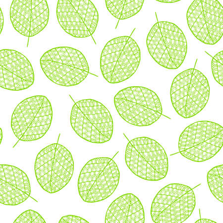 paper graphic: Vector graphic seamless pattern from silhouette leaves hand-drawn in a doodle zentangle style. Trace ink drawing of a tree leaf green seamless texture. Wrapping paper, fabric