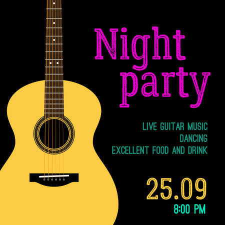 slat: Vector template invitations for a night party with the illustration of a guitar in slat style. Poster for the club or bar for party with guitar music. For banner, flyer, cover design.