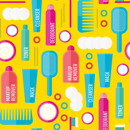 woman washing hair: Vector beauty products seamless pattern in flat style. Icons of different bottles for cosmetics, face cream and eye cream, tooth brush, hair brush, deodorant in seamless texture. Washing, hygiene.