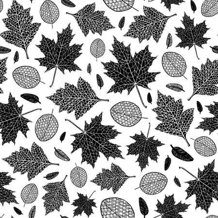 Vector seamless pattern of silhouette of a hand-drawn different autumn leaves. Trace ink drawing of a tree leaf seamless texture in black color. For seasonal, holiday design. Isolated on white.