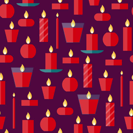 burning paper: Vector seamless pattern of different burning red candles on a purple background in flat style. Endless texture for wrapping paper, holiday decoration and design, gift bags, birthday, anniversary cards