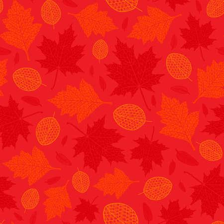 Vector seamless pattern of silhouette of a hand-drawn different autumn leaves. Trace ink drawing of a tree leaf seamless texture in different shades of red. For seasonal, holiday design. Botanical.
