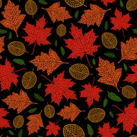 Vector seamless pattern of silhouette of a hand-drawn different autumn leaves. Trace ink drawing of a tree leaf seamless texture in different shades of red and green in black background. Seasonal.