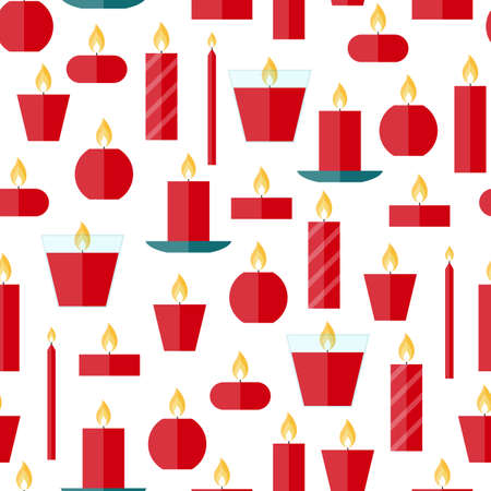 waxen: Vector seamless pattern of different burning red candles on a white background in flat style. Endless texture for wrapping paper, holiday decoration and design, gift bags, birthday, anniversary cards.