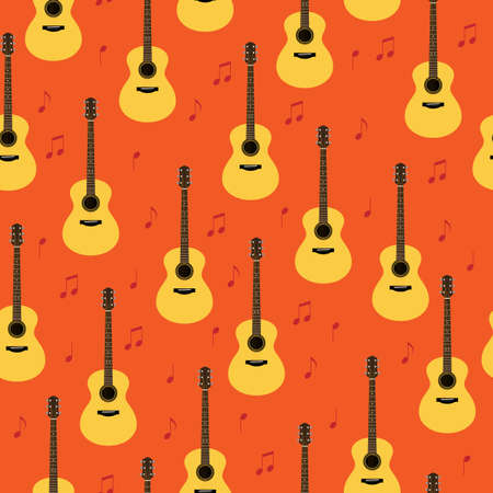 Vector seamless pattern with classic acoustic guitars and notes. Creativity, playing songs background. Musical texture for wrapping paper, gift bag, music shops and bands  web and ads design.