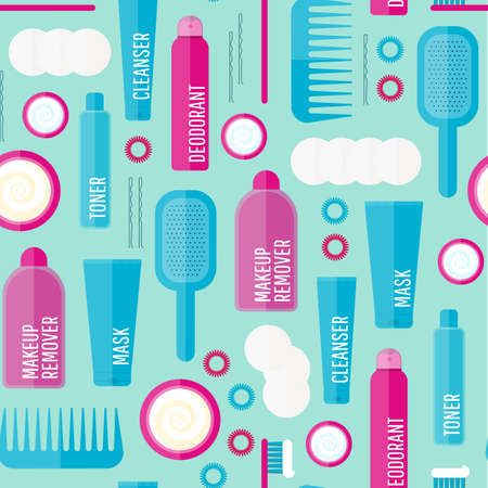 Vector beauty products seamless pattern in flat style. Icons of different bottles for cosmetics, face cream and eye cream, tooth brush, hair brush, deodorant in seamless texture. Washing, hygiene.