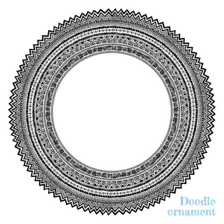 Vector hand drawn round ornament isolated on white background. Doodle geometric pattern frame. Ornamental detailed sun illustration. For ethnic design. Stok Fotoğraf