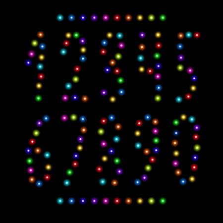Vector number set from bright shiny colorful christmas lights isolated on black. Glowing garland digits collection for holiday, birthday design, greeting cards, party invitation. New year 2018 text.