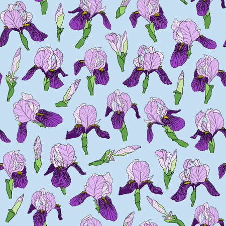 Graphic vector hand-drawn ink seamless pattern of purple iris flowers in a linear style. Vintage texture drawn on paper and traced buds of tulips from different angles for textile, fabric, invitation.