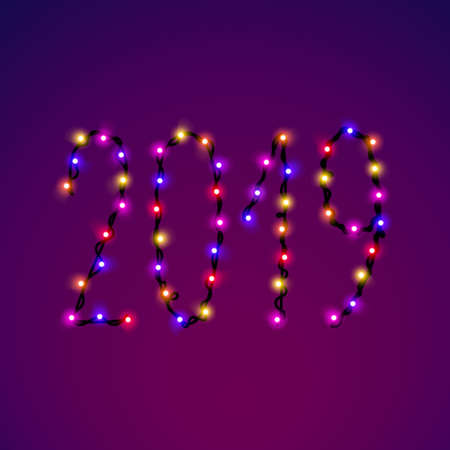 Vector 2019 text from bright shiny colorful christmas lights. Glowing garland digits collection for holiday, birthday design, greeting cards, party invitation. New year text.
