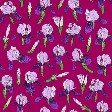 Vector graphic hand-drawn ink seamless pattern of purple iris flowers in a linear style. Vintage texture. Drawn on paper and traced buds of violet irises. For textile, fabric, invitation Çizim