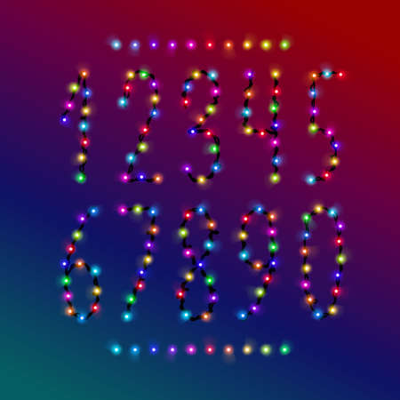 Vector number set from bright shiny colorful christmas lights. Glowing garland digits collection for holiday, birthday design, greeting cards, party invitation.