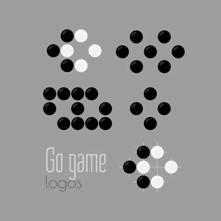 Go game logo set. Baduk ko rule. Different positions with one or two eyes. Black and white stones from weiqi board game. Chinese strategy. Pure flat vector design.