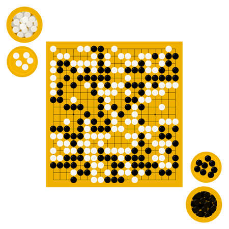 Vector illustration of goban and bowls with stones in flat style. Go board game equipment. Template for presentation baduk positions. Weiqi, igo poster. Stok Fotoğraf