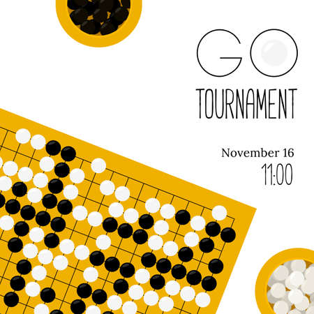 Vector de cartel de torneo con goban y cuencos con piedras de estilo plano. Vaya equipo de juego de mesa. Plantilla para invitaciones a concursos y campeonatos de baduk. Weiqi, juego de igo.