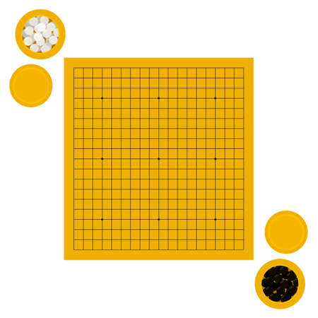 Vector illustration of empty goban and bowls with stones in flat style. Go board game equipment. Template for presentation baduk positions. Weiqi, igo poster.