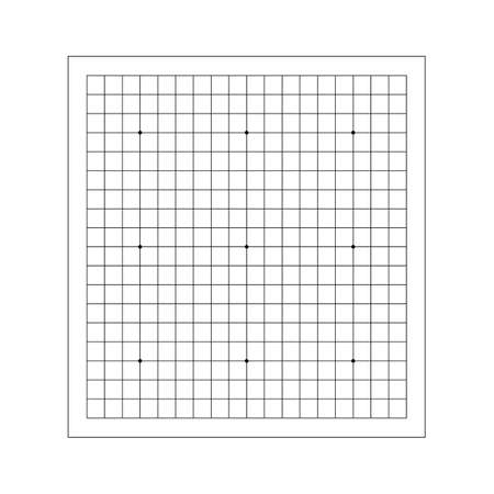 Vector line of empty goban grid. Go board game equipment. Template for presentation baduk positions. For print, for kifu notebooks. Weiqi, igo.