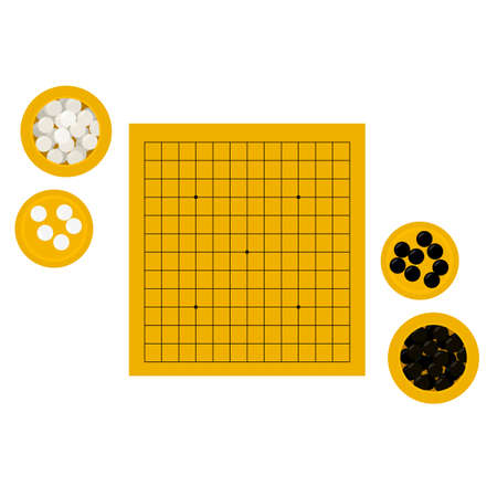Vector illustration of empty middle-sized goban and bowls with stones in flat style. Go board game equipment. Template for presentation baduk positions. Weiqi, igo poster. 13 by 13 board