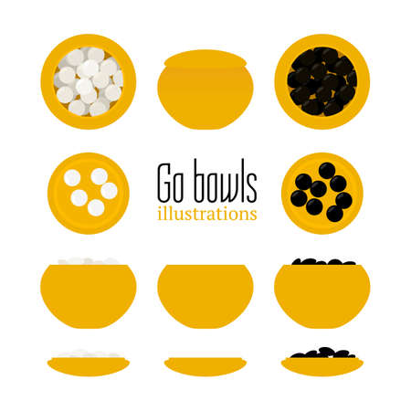 Vector illustration of bowls with stones in flat style. Go board game equipment. Template for presentation baduk positions. Weiqi, igo poster.