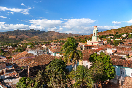 Colonial town cityscape of Trinidad, Cuba. UNESCO World Heritage Site. Tower of Museo Nacional de la Lucha Contra Bandidos