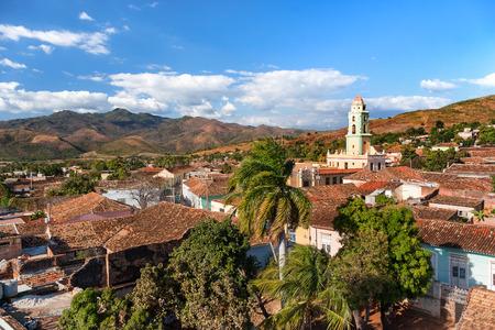 Colonial town cityscape of Trinidad, Cuba. UNESCO World Heritage Site. Tower of Museo Nacional de la Lucha Contra Bandidos