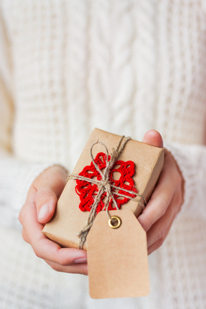 Woman in knitted sweater holding a present. Gift is packed in craft paper with hand made crocheted red snowflake. Present has an empty tag for your text. Mock up. DIY way to pack Christmas present