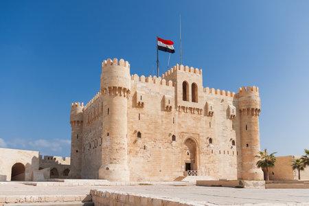 alexandria egypt: Citadel of Qaitbay fortress and its main entrance yard, Alexandria, Egypt.