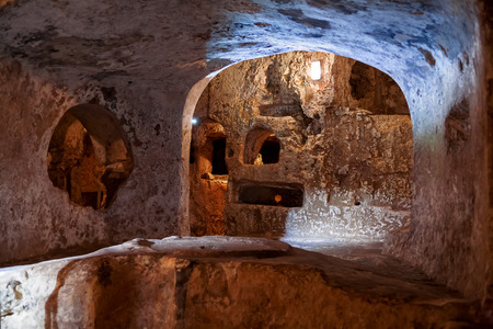 Famous landmark - ancient christian cemetery catacombs of Saint Paul. Rabat, Malta.