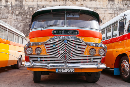 60s: Colorful old British buses from the 60s were used as public transport in Malta.