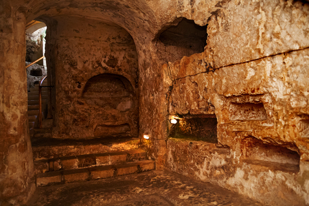 Famous landmark - ancient christian cemetery (catacombs) of Saint Paul. Rabat, Malta.