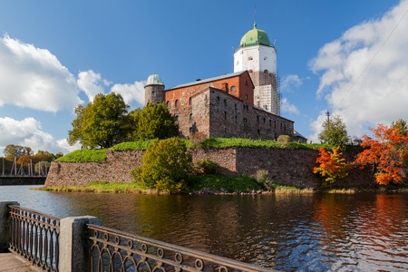 vyborg: St Olov castle, medieval Swedish castle in Vyborg, Russia. Panorama view in sunny autumn day. Editorial