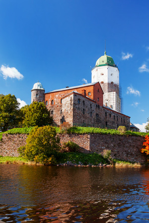 loophole: St Olov castle, medieval Swedish castle in Vyborg, Russia. Panorama view in sunny autumn day. Editorial