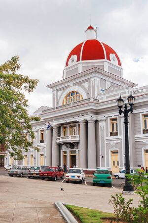 center hall colonial: City Hall in old town Cienfuegos. Cuba. UNESCO World Heritage Site.