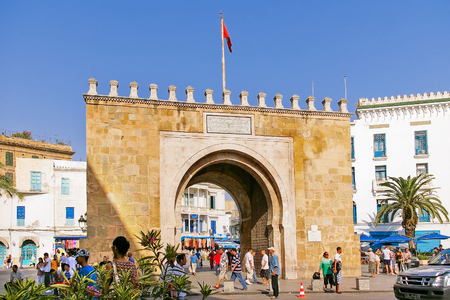 streetlife: Gates of Medina, old center of Tunis, capital city of Tunisia. Main entrance in historical part of town. Editorial