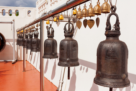 sacral: Sacral bells in Wat Saket Ratcha Wora Maha Wihan (the Golden Mount). Bangkok, Thailand.