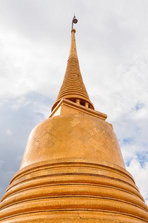 monastery nature: Golden stupa in Wat Saket Ratcha Wora Maha Wihan (the Golden Mount). Bangkok, Thailand. Stock Photo
