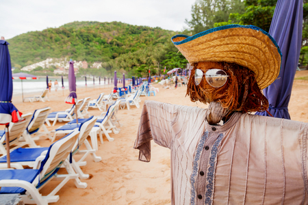 terrify: Funny scarecrow on beach. Stylish bogeyman on Phuket island, Thailand.
