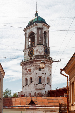 vyborg: Old clock tower, landmark of Vyborg, Russia.