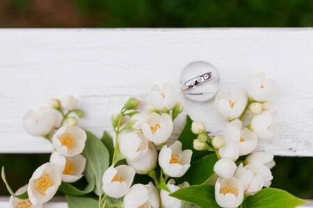philadelphus: Golden wedding rings with diamonds lie inside jasmine (Philadelphus) flower in bridal bouquet. Symbol of love and marriage. Wedding bouquet. Brides traditional symbolic accessory. Floral composition with jasmine flowers. Stock Photo