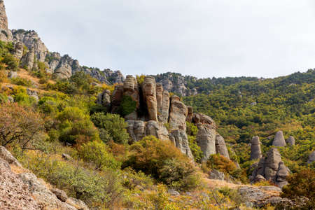 ghost rock: Famous Ghost Valley with strangly shaped rocks. Demerdji mountains. Crimea, Russia.