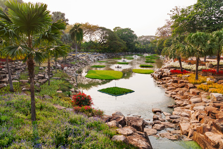 tropical garden: Nong Nooch Tropical Garden in Pattaya, Thailand. Beautiful pond with palm trees.