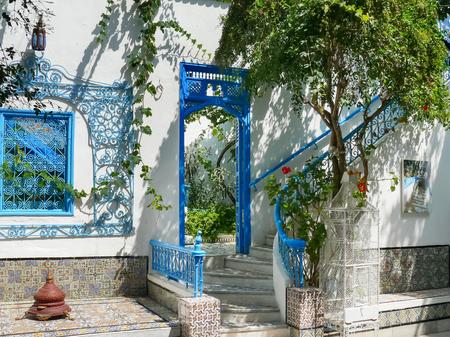 sidi bou said: Traditional white and blue interior of house in Sidi Bou Said, Tunisia. Stock Photo